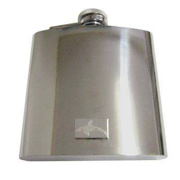 Silver Toned Etched Swimming Killer Whale Orca 6 Oz. Stainless Steel Flask