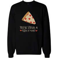 Cute Graphic Sweatshirts You've Stolen a Pizza My Heart Black Unisex Sweatshirts