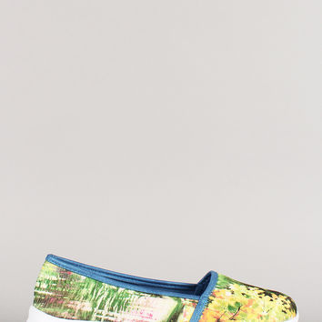 Misbehave Watercolor Painting Round Toe Loafer Flat