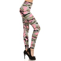 Light Pink Army Graphic Print Lined Leggings