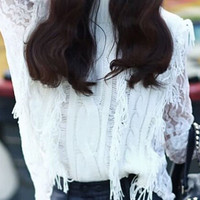 White Sheer Lace Tassel Knitted Sweater