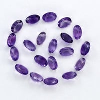 6*8 MM Amethyst Gemstone 20 Pieces Oval Shape,Approx -21.6ct.,Lot Wholesale Loose Semiprecious,Natural Purple Amethyst faceted Gemstone Lots
