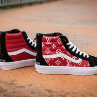 Vans x Supreme x LV SK8-HI Casual skateboard shoes
