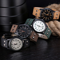Sanwony New Arrival Vintage Classic Men's Date Leather Strap Sport Quartz Watches Hot