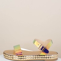 Iridescent Buckled Ankle Stud Platform Wedges