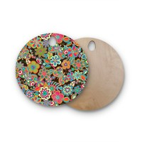 Kess InHouse JG1064AWB02 Julia Grifol Candy Flowers in Black Round Wooden Cutting Board, Gray White