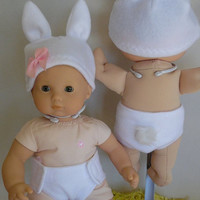 Easter Bunny Rabbit Outfit for Dolls, Fits Bitty Baby, Cabbage Patch Baby and Similar, Bunny Ears Hat, Fluffly Tail Diaper