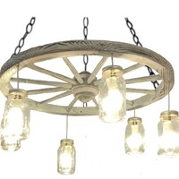"""30"""" Distressed White Wagon Wheel Chandelier. FREE SHIPPING in U.S. & Canada"""