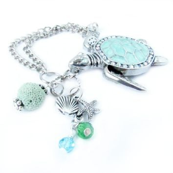 Sea Turtle Car Charm with Diffuser Bead