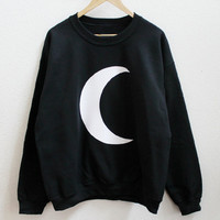 Sailor Moon Crescent Moon Women's Casual Black Gray Pink & White Crewneck Sweatshirt