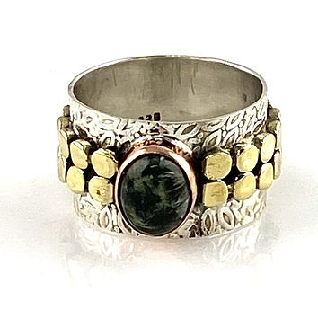Seraphinite Three Tone Sterling Silver Leaf Band Ring