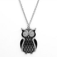 Candie's Simulated Crystal Owl Long Pendant