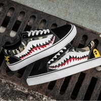 PEAPON Vans Bape Aape Shark Old Skool Custom Shark tooth Low Sneakers Convas Casual Shoes I-F
