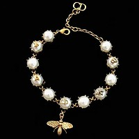 DIOR Fashion New Metal Bee More Pearl Personality Bracelet Women Accessories