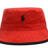 hcxx Polo Ralph Lauren Full Leather Bucket Hats Red