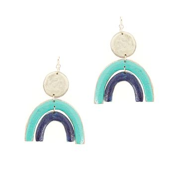 Rainbow Recycled Paper Earrings