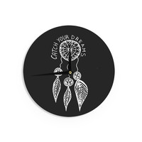 """Vasare Nar """"Catch Your Dreams Black"""" White Typography Wall Clock"""