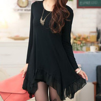 Black Long Sleeve Lace Hem Chiffon Dress