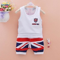 201 New Arrival!!!  Boys Summer 2 Piece Set Vest+Shorts. Sizes 3m To 7Y