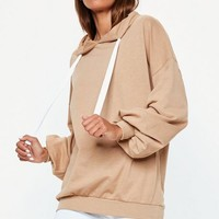 Missguided - Nude Oversized Puff Sleeve Hoodie