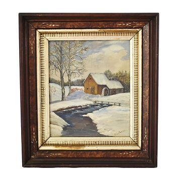 Victorian Deep Gilt Walnut Frame Wintry Landscape Oil Painting 17 X 15 in