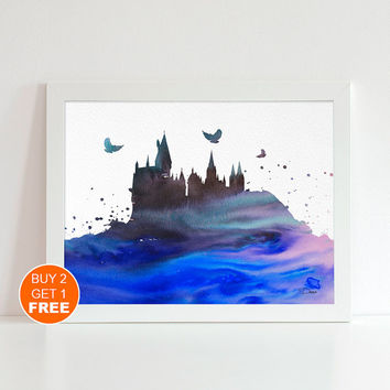 Hogwarts castle Harry Potter Magical Print Blue watercolor illustration art Harry Potter hogwarts castle poster, Gift, Movie poster