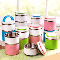 2016 Hot 2-3 Layers Dots Stainless Steel Lunch Box Insulation Bento Thermo Thermal Lunch Box Food Container Picnic Container