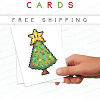Geeky Christmas Card, Retro Holiday Cards, Pixel Christmas Tree, 8-Bit Video Game, Mario, Greeting Cards, Pixel Greeting Card, Holiday Card
