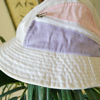 White Pastel Pink Purple Buckethat Zipper Pouch Vintage 90s