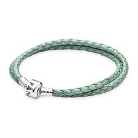PANDORA Green Braided Double Leather Bracelet, Limited Edition