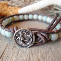 Mermaid leather bracelet Serene Sea Siren sky blue by slashKnots