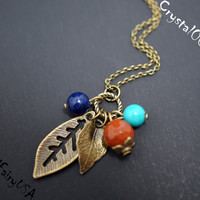 Retro bronze lapis turquoise jasper leaf necklace