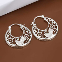 silver plated earing jewelry Round Flower earring 417