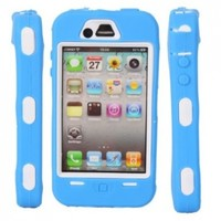 Full Protective Hard Case White Background for Iphone 4/4s Blue