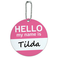 Tilda Hello My Name Is Round ID Card Luggage Tag