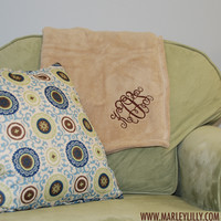Monogrammed Fleece Blanket | Custom Throw | Personalized Marley Lilly