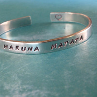 Hakuna Matata- Hand Stamped Aluminum Bracelet- Choose Your Font