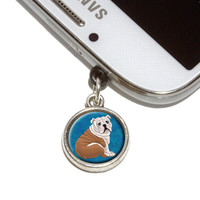 English Bulldog Mobile Phone Silver Charm