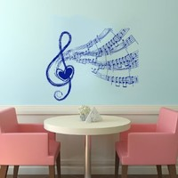 Note Notes Waves Heart Music Musical Treble Clef Decor Recording Music Studio Wall Vinyl Decal Art Sticker Home Modern Stylish Interior Decor for Any Room Smooth and Flat Surfaces Housewares Murals Design Graphic Bedroom Living Room (4124)