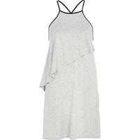 River Island Womens Grey marl asymmetric layered cami dress
