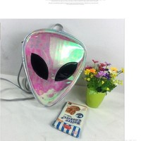 Clear Backpacks popular 2017 Harajuku Alien Bag Funny Clear Backpack for Women Hologram Hip-Hop Transparent Laser PVC Alien Backpacks AT_62_4