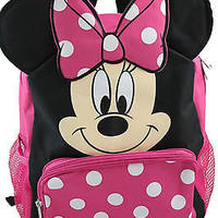 "Minnie Mouse with Ears School 12"" Backpack Back Pack by Disney-New with Tags!!"