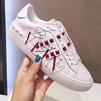 Valentino Fashion Women Men Casual Leather Rivet Sneakers Sport Shoes