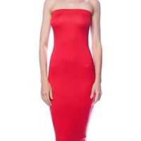 Solid Color Strapless Bodycon Mini Tube Dress in Red