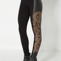 Paisley Cut-Out Faux Leather Legging