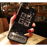 Givenchy diamond-studded iphone6s rhinestones tide brand 8plus luxury mobile phone case F0493-1 black