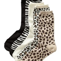 Old Navy Womens Animal Print Sock 5 Packs Size One Size - Neutral