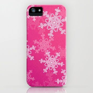 Pink snowflakes iPhone & iPod Case by Silvianna