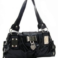 MG Collection Bow Heart Lock Faux Patent Leather Satchel Shoulder Bag, Black, One Size