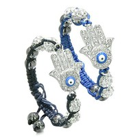 Magic Evil Eye Protection Love Couples Best Friends Hamsa Hands Amulets Royal Blue Black Bracelets
